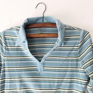 Striped V-neck polo stripes blue olive M women's